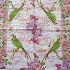Floral napkin Bird and vintage roses Paper napkin by NapkinsDeco