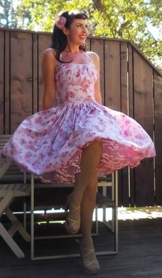 Pinup dress 'Barbie in Vintage roses' Cutest Rockabilly dress, floral dress, gathered bust pink roses 50s vintage style,