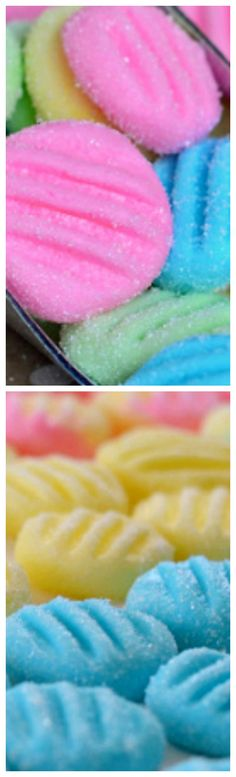 Pastel Mint Patties ~ Pretty and perfect for Easter and spring time... These mints take just minutes to make and the kiddos can help too!