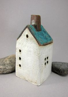 $50.00 Miniature stoneware house at ETSY (Finland)    http://www.etsy.com/listing/98019783/matte-blue-roofrustic-stoneware-house