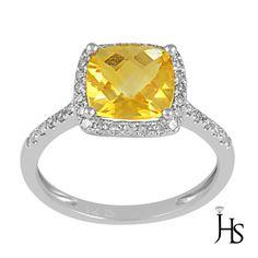 14K White Gold 2.00 CT Round Diamond & Cushion Yellow Natural Citrine Halo Ring #WomensGemStoneRingJewelryHotspot