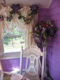 So pretty at Sugar's Tea Room Romantic Cottage, Shabby Chic Cottage, Shabby Chic Homes, Shabby Chic Decor, Lavender Cottage, Lavender Blue, Shabby Chic Bedrooms, All Things Purple, Purple Stuff