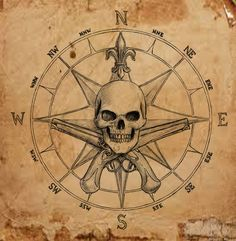 Pirate Compass symbol by dashinvaine on DeviantArt – skull tattoo sleeve Pirate Skull Tattoos, Pirate Ship Tattoos, Pirate Compass Tattoo, Pirate With Tattoo, Pirate Map Tattoo Sleeve, Pirate Symbols, Pirate Maps, Trendy Tattoos, Tattoos For Guys