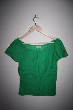 Vero Moda Fashion Designer 100% Cotton Women's T-Shirt Green Stockholm Top SizeM