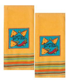 Look at this #zulilyfind! Yellow Tortilla Dish Towel - Set of Two #zulilyfinds