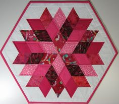 Quilted Table Topper , Scrappy Pink Valentine Table Topper , Rock Candy by Jaybird Quilts by VillageQuilts on Etsy