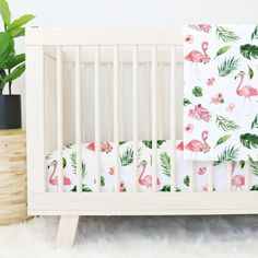 This adorable tropical floral flamingo design in a fun watercolor style is perfect for a airy tropical nursery. This bedding is great for a eclectic nursery.