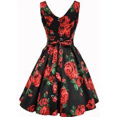 1950s Vintage Style Ruby Rose Floral Tea Dress