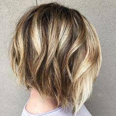 Balayage Short Bob Hairstyles for Women Thick Hair - Bob haircut with blonde highlights