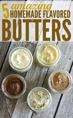 Salted, honey, garlic, brown sugar cinnamon honey, and pumpkin spice butter! I don't know which one is my favorite, I truly love them all. http://happymoneysaver.com/homemade-flavored-butter-recipes/?utm_campaign=coschedule&utm_source=pinterest&utm_medium=Karrie%20%7C%20HappyMoneySaver&utm_content=5%20Homemade%20Flavored%20Butter%20Recipes
