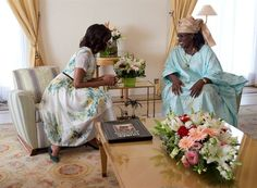 First Lady Michelle Obama and Senegalese First Lady Mariame Faye Sall, at the presidential palace in Dakar, Senegal, Africa (2013)