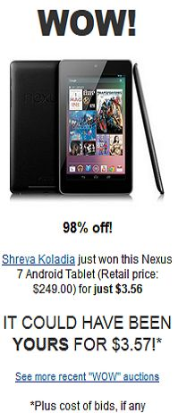 Nexus 7 Android Tablet for $3.56