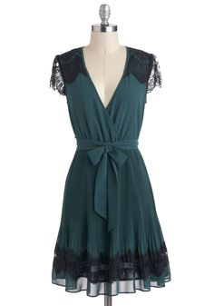 Speaking Easy Dress by Darling - Mid-length, Lace, Belted, Party, A-line, V Neck, Cocktail, Vintage Inspired, Luxe, Green