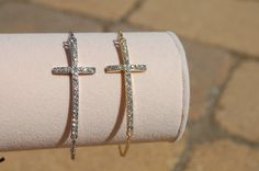 Side Cross Bracelet Gold or SIlver by StringofLove on Etsy, $18.00