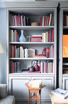 @cla LOVE the nailhead trim on bookcases!  Need that on mine--minus the upholstery...