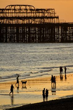 England Travel Inspiration - The West Pier in Brighton suffered damage from storms and several fires later in 2003 spelled the end of any renovation plans. The skeletal hulk is all that is left. Brighton Rock, Brighton England, Brighton And Hove, Brighton Sussex, British Beaches, British Seaside, Brighton Photography, Beach Silhouette, East Sussex