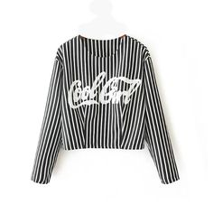 2015 spring new women's fashion vertical stripe pattern letters short paragraph long-sleeved T-shirt shirt
