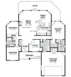 House Plan - 3 Beds 2 Baths 1856 Sq/Ft Plan #18-316 Floor Plan - Main Floor Plan - Houseplans.com