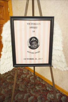 Victoria's Secret themed Sweet 16 easel photo for entry. Easel, Sweet 16, Victoria's Secret, Entertaining, Frame, Decor, Flip Charts, Picture Frame, Decoration