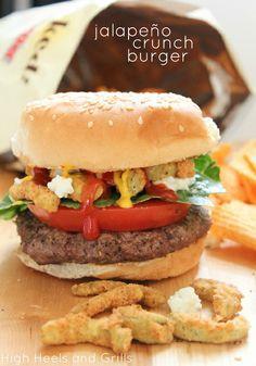 Jalapeño Crunch Burger. #recipe #dinner #food http://www.highheelsandgrills.com/2013/06/jalepeno-crunch-burger.html