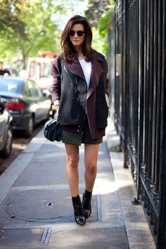 STREET STYLE SPRING 2013: PARIS FASHION WEEK - Hedvig is officially fall-ready in an oversized moto jacket and shoes with sock combination.