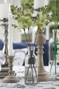 DARLA wooden candlesticks and AFFAIR vase with FLORA decoration lilac. Lene Bjerre, spring 2014.
