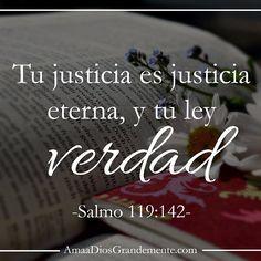 Salmos 119:142 Tu justicia es justicia eterna, Y tu ley la verdad.♔