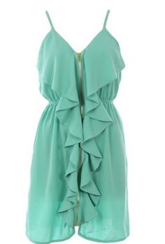 Absolutely LOVE this. Green Tiered/Ruffle Dress - Front Zipper Dress | UsTrendy