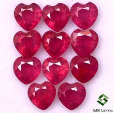 Items similar to 5 mm Natural Ruby Heart Shape Lot 11 Pcs Cts Calibrated Faceted Loose Gemstones GF on Etsy Natural Emerald, Natural Ruby, Semi Precious Gemstones, Loose Gemstones, My Birthstone, Rocks And Gems, Sapphire Diamond, Heart Shapes, Handmade Items