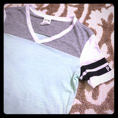 """VS PINK tee Mint, gray, and white tee with stripes on the sleeves. Slightly curved hem. Purchased last summer and worn a few times. No flaws to note! I'll try to get the wrinkles out the best I can before shipping! Tag says XS but fits more like a small in my opinion; please refer to measurements. Bust: 17"""", length: 27"""" PINK Victoria's Secret Tops Tees - Short Sleeve"""