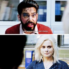 "Ravi & Liv #iZombie oh, Liv on frat boy brain -- she put glitter in poor Ravi's beard as well as the makeup and forehead reading ""fart,"" like a brain fart, lol."