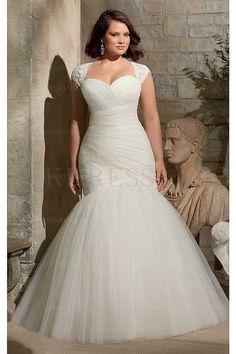 Mermaid Sweetheart Cap Sleeves Lace-up Plus Size Wedding Dresses - by OKDress UK