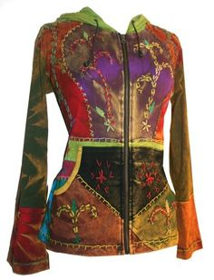 #318 Agan Traders Hand Crafted Tie Dye Patch and Hand Embroidered Funky Cotton Bohemian Jacket. for only $54.99