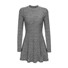 Heather Grey High Neck Long Sleeve Knit Casual Dress (35 CAD) ❤ liked on Polyvore featuring dresses