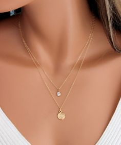 Benedict Necklace Multi Strand Gold Filled Women Double Layers Simple Minimalist Jewelry Protection Crystal Gift for her Simple Necklace, Dainty Necklace, Gold Necklace, Layer Necklace, Dainty Jewelry, Cute Jewelry, Women Jewelry, Gold Jewelry, Diamond Cross Necklaces