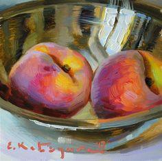DPW Original Fine Art Auction - Peaches in Silver - © Elena Katsyura Acrylic Painting Lessons, Fruit Painting, Garden Painting, Painting Inspiration, Art Inspo, Peach Paint, Vegetable Painting, Still Life Art, Fruit Art