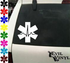 EMT Cardiac Vinyl Car Truck Window Decal Emergency Medical Snake Star Nurse Pride Love Paramedic Medic iPhone Samsung Case Sticker ANY SIZE