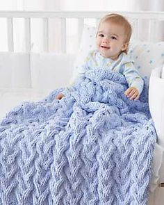 Free Pattern - Shadow Baby Blanket - Knit - A 36 in. (90 cm) circular needle is recommended, to accommodate the number of stitches.