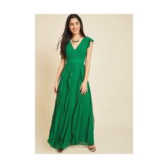 Long Short Sleeves Empire Exquisite Epilogue Maxi Dress (170 CAD) ❤ liked on Polyvore featuring dresses, apparel, green, long dresses, cocktail dresses, maxi dresses, short-sleeve maxi dresses and evening dresses