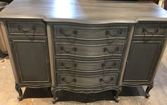 French provincial sideboard painted in a mixture of French linen and graphite and finished with black wax chalkpaint™ by Annie Sloan and bright silver gilding. Distressed Furniture Painting, Painted Furniture, Annie Sloan Graphite, Painted Sideboard, French Provincial, Wax, Bright, Silver, Vintage