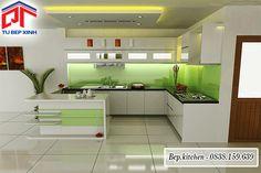 Tủ bếp gỗ Acrylic chữ U có đảo bếp KC85C
