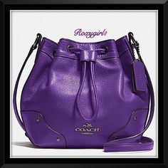 """Coach Mickie Drawstring Shoulder Bag #35363 Coach Mickie Drawstring Shoulder Bag #35363 in Purple Iris MSRP: $350 + Tax  DETAILS Grain leather Gunmetal Hardware Dual layer leather studded corners for durability Engraved rivets and rings Coach NY with Horse & carriage Emblem Inside zip and multifunction      pockets Drawstring closure  Purple fabric lining Strap with 23"""" drop for shoulder or crossbody wear 8 3/4"""" (L) x 7 3/4"""" (H) x 4 3/4"""" (W) ❌NO TRADE OR PP❌ Coach Bags Crossbody Bags"""