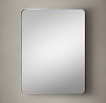 Bristol Flat Mirror 24x30 gunmetal frame edge powder room