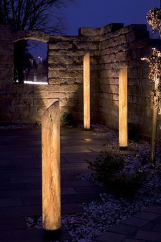 Night yard landscaping with outdoor lights looks romantic ...