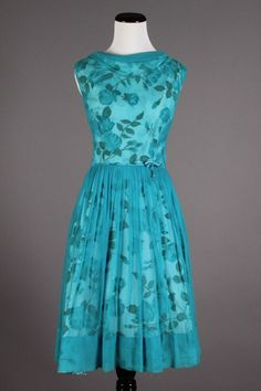 50s-60s Small Vintage Blue Roses Dress w/ Sheer Turquoise Chiffon. A beautiful vintage party dress in a lovely shade of turquoise! $80 via eBay