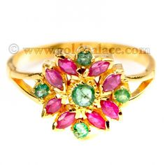 Gold Ring With Ruby Emerald 22 Kt Size 7-0