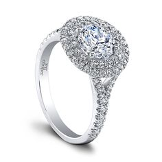 """Jeff Cooper """"Tina"""" engagement ring with double diamond halo and diamond split-shank sides. Double Halo Engagement Ring, Buying An Engagement Ring, Engagement Ring Styles, Designer Engagement Rings, Diamond Wedding Bands, Halo Diamond, Diamond Rings, Jeff Cooper, Diamond Are A Girls Best Friend"""