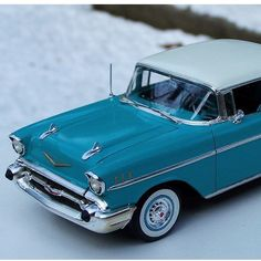 1957 CHEVY BEL AIR MODEL KIT - $34.95 #modelcar #modelchevy #chevybelair #57chevy Without a production delay, this silver-screen legend would not exist. As late as the 1970's, the Chevy Bel Air outpaced newer competition on the race track. Coming from AMT, this model car kit features whitewall tires and a highly-detailed motor.