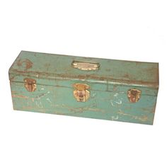 Vintage 1950's Industrial Green Painted Metal Tool Tackle Box