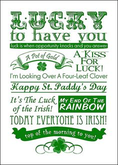 """Lucky"" free 5X7 Printable for St. Patrick's Day."